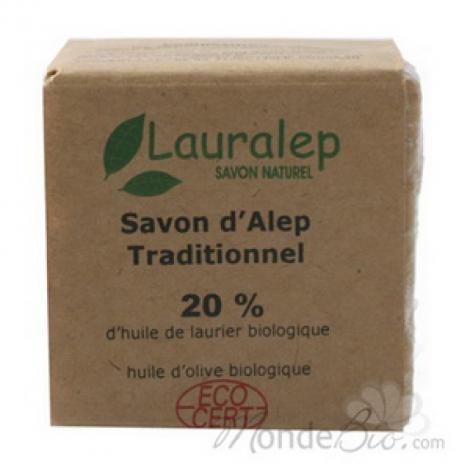 Lauralep Le savon d'Alep traditionnel 20% d'huile de laurier 200g Lauralep Savons d'Alep / Marseille Onaturel.fr