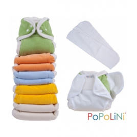 Popolini Lot 10 Couches lavable 3 15kg Arc en Ciel + culotte protection taille S