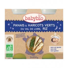 Babybio Petits pots Bonne Nuit Panais Haricots Verts Riz dès 8 mois 2x200g Babybio Petits pots Menu Nuit Bio Onaturel.fr