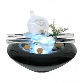 Zen Arôme Fontaine d'intérieur en verre Vasque arrondi en céramique noire: Tea Time Zen Arôme Accueil Onaturel.fr