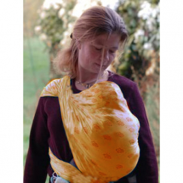 Storchenwiege Echarpe porte bébés Saumon Louise abricot 100% coton biologique 4.60m Storchenwiege Accueil Onaturel.fr