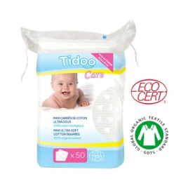 50 Maxi Carrés de Coton Bio Ultra doux 100% biologique TidooCare Tidoo Accueil Onaturel.fr