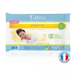 Tidoo Lingettes au Calendula Fibres 100% Compostables Sans Parfum