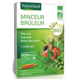 Naturland Minceur brûleur Thé Vert Café Vert guarana Reine des prés Bio 20 ampoules Naturland