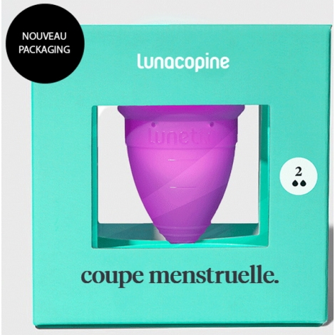 Lunacopine Coupe menstruelle violette taille 2 avec pochette de rangement Lunacopine