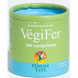 Flamant Vert Vegifer Spiruline Fer 180 comprimés de 500mg Flamant Vert