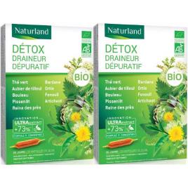Detox Bio (association de 9 plantes*) Lot de 2 boîtes 20 ampoules Naturland Naturland
