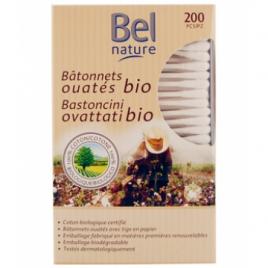 Bel Nature 200 Bâtonnets d'oreille boîte distributrice coton bio Bel Nature