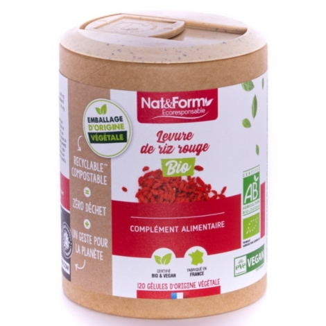 Nat et Form Levure de riz rouge Bio 120 gélules Nat et Form