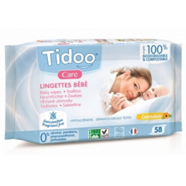 Tidoo 58 Lingettes compostables au Calendula Sans Parfum Onaturel