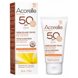 Acorelle Crème Solaire teintée claire SPF50 50ml Onaturel