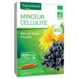 Naturland MINCEUR CELLULITE Bio Marc de raisin Piloselle 20 ampoules de 10ml Naturland
