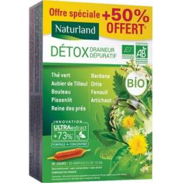 Naturland Détox Draineur Dépuratif Bio 9 plantes 20 ampoules de 10ml + 50 % offert Naturland