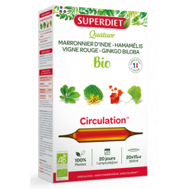 Super Diet Quatuor Circulation Vigne Rouge Marronnier Hamamélis Ginkgo 20 ampoules de 15ml Onaturel