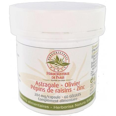 Herboristerie de paris Astragale Olivier Pépins de raisin Zinc 60 gélules Herboristerie De Paris