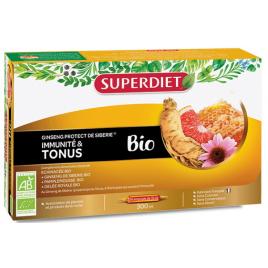 Super Diet Ginseng protect Bio 20 ampoules de 15ml eleuthérocoqie échinacée extrait de pamplemousse