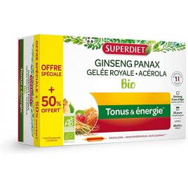Super Diet Ginseng Acérola Gelée Royale Bio 20 ampoules +50% gratuit Super Diet