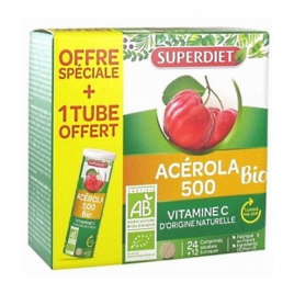 Super Diet Acérola 500 bio + 1 tube OFFERT soit 36 comprimés Super Diet