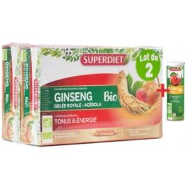Super Diet Ginseng Gelée Royale Acerola bio 40 ampoules Lot 2x20x15ML + 1 Acerola gratuit Super Diet