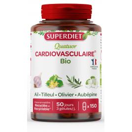 Super Diet Quatuor Ail Olivier Tilleul Aubépine Bio 150 gélules Super Diet