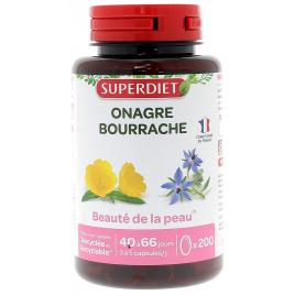 Super Diet Huile d'Onagre bio Bourrache bio 200 capsules Onaturel