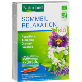 Naturland Sommeil Relaxation Passiflore Aubépine Oranger Lavande Bio 20 ampoules de 10ml Onaturel