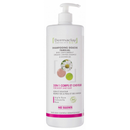 Dermaclay Shampoing douche Argile rose et blanche, Camomille et Rose 1L Dermaclay