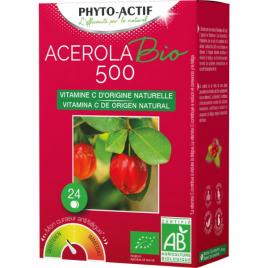 Phyto-Actif Acerola BIO 500 2 tubes de 12 comprimés Phyto-Actif