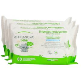 Alphanova Lot de 3 X 72 Lingettes Coton Biodégradables Amande douce Alphanova