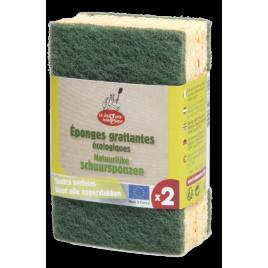 Droguerie Ecologique 2 Eponges grattantes vertes à récurer en matières recyclées Droguerie Ecologique