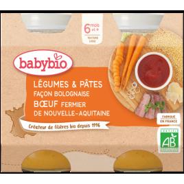 Babybio Petits Pots Légumes Pâtes Bolognaise Boeuf Fermier dès 6 mois 2x200g Babybio