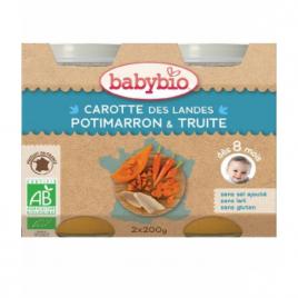 Babybio Duo Menu du Jour Carottes des Landes, Potimarron et Truite dès 8 mois 2x200g Babybio Alimentation bébé Onaturel.fr