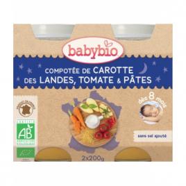 Babybio Duo Menu Bonne Nuit Compotée de Carotte Tomate Pâtes 2x200g Babybio Petits pots Menu Nuit Bio Onaturel.fr