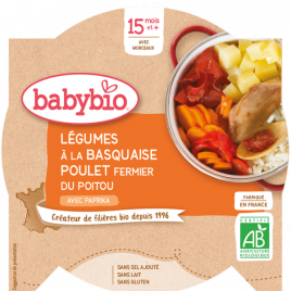 Babybio Mon Assiette Légumes à la Basquaise et Poulet Fermier dès 15 mois 260g Babybio