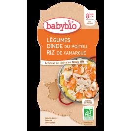 Babybio Bol Menu du jour Mijoté de Légumes Dinde Riz Dès 8 mois 2 x 200g Babybio