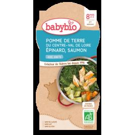 Babybio Bol Menu du jour Pomme de terre Epinards Saumon Dès 8 mois 2 x 200g Babybio