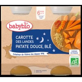 Babybio Duo Menu Bonne Nuit Carotte Patates Douces Blé dès 6 mois 2 x 200g Babybio