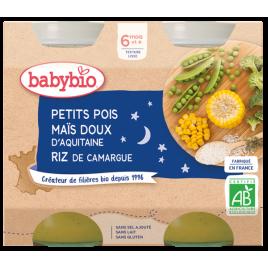 Babybio Duo Menu Bonne nuit Petits Pois Maïs Riz dès 6 mois 2 x 200g Babybio