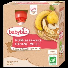 Babybio Gourdes Mes fruits Poire Banane Millet dès 6 mois 4 gourdes de 90g Babybio