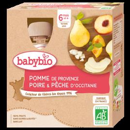 Babybio Gourdes Pomme Poire Pêche dès 12 mois 4 gourdes de 90g Babybio