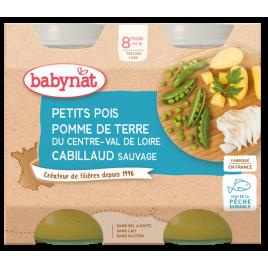 Babybio Duo Menu Petits Pois Pommes de Terre et Cabillaud dès 8 mois 2 x 200g Babybio