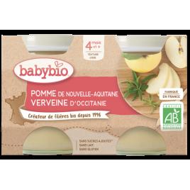 Babybio Petits pots Pomme de Nouvelle Aquitaine et Verveine 2x130g dès 4 mois 260g Babybio