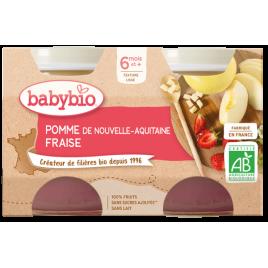Babybio Petits pots Pomme de Nouvelle Aquitaine et fraise dès 6 mois 2x130g Babybio