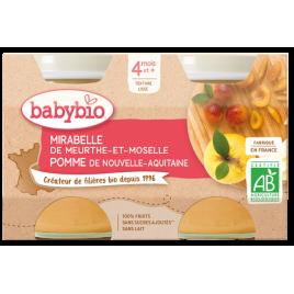 Babybio Petits pots Mirabelle et Pomme 2x130g dès 4 mois Babybio