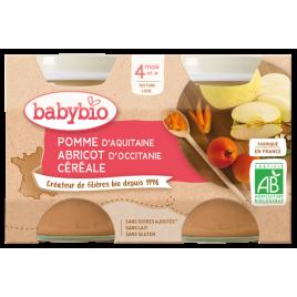 Babybio Petits pots Pommes Abricots Céréale 2x130g dès 4 mois 260g Babybio