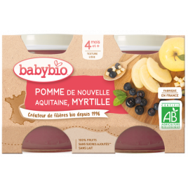 Babybio Petits pots Pommes Myrtilles 2x130g dès 4 mois 260g Babybio