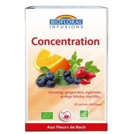 Biofloral Infusion élixir Concentration Vitalité Energie 24 g Onaturel