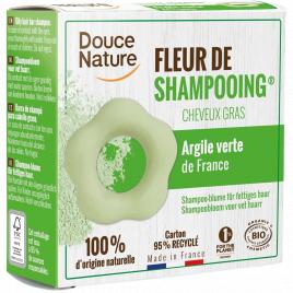 Douce Nature Fleur de Shampooing solide cheveux gras Ortie Karité Argile verte 85g