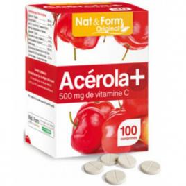 Nat et Form Acérola 500 Vitamine C 100 comprimés Nat et Form Forme et Vitalité Onaturel.fr