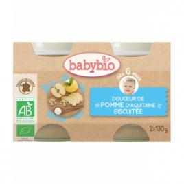 Babybio Douceur de Pomme d'Aquitaine biscuitée 2X 130g dès 6 mois 260g Babybio Alimentation bébé Onaturel.fr